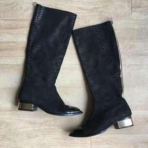 Jeffery Campbell Knee High Tall Black Suede Boots